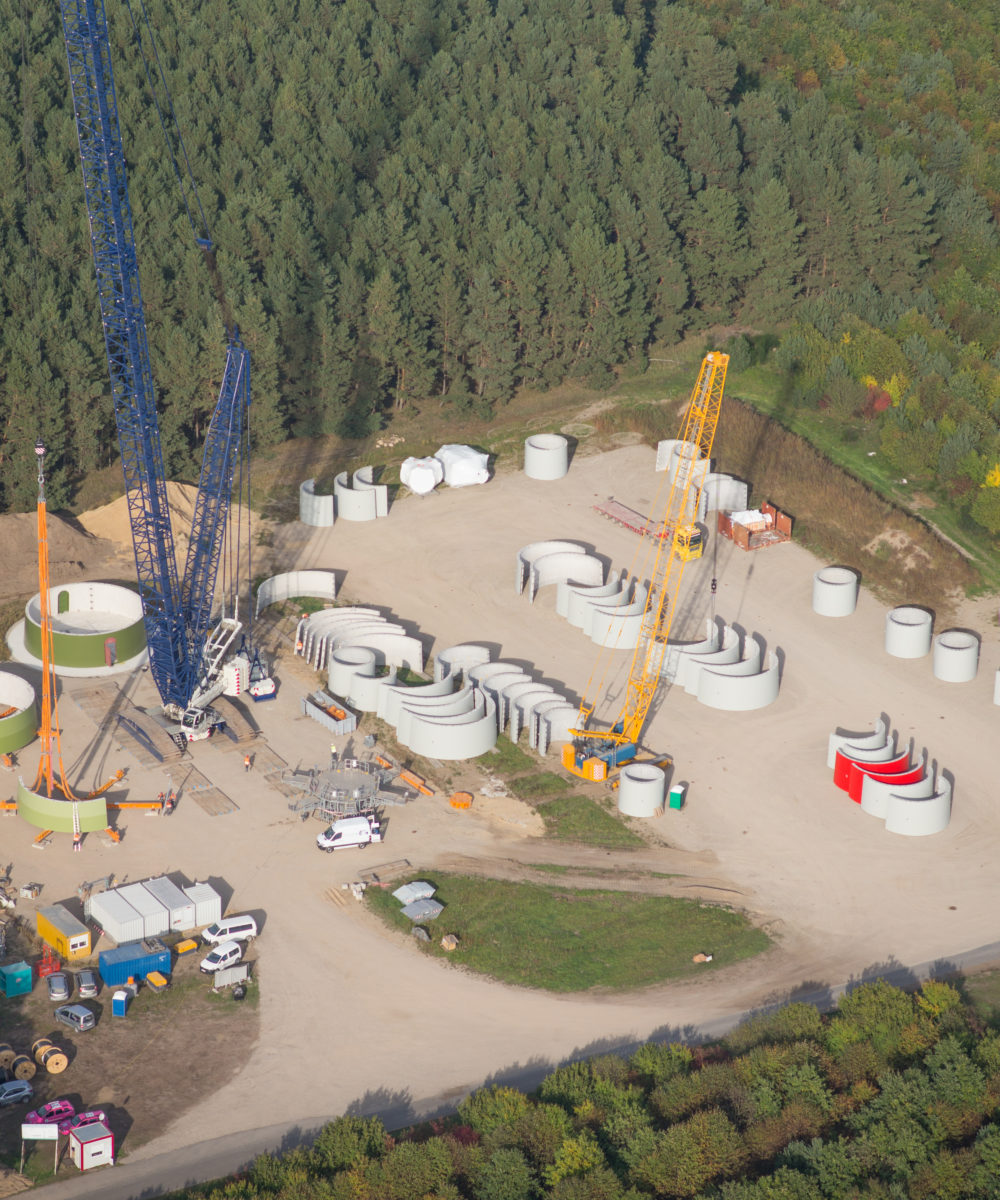 Windrad Baustelle - Luftbild